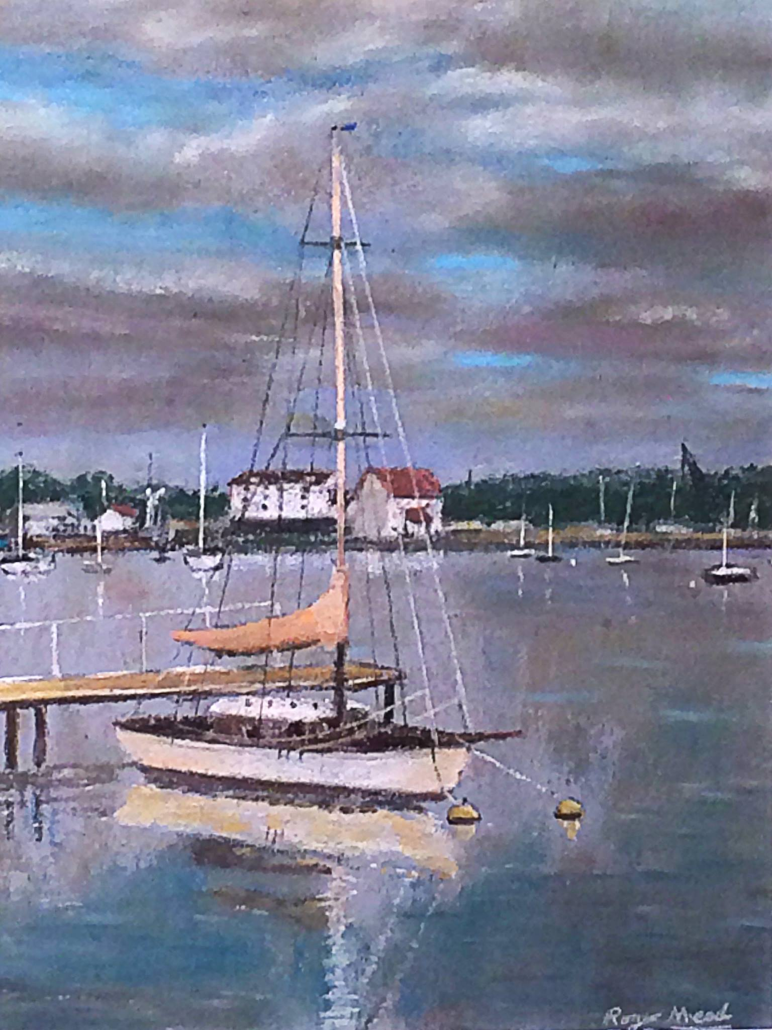 Woodbridge reflections, Pastel by Roger Mead.
