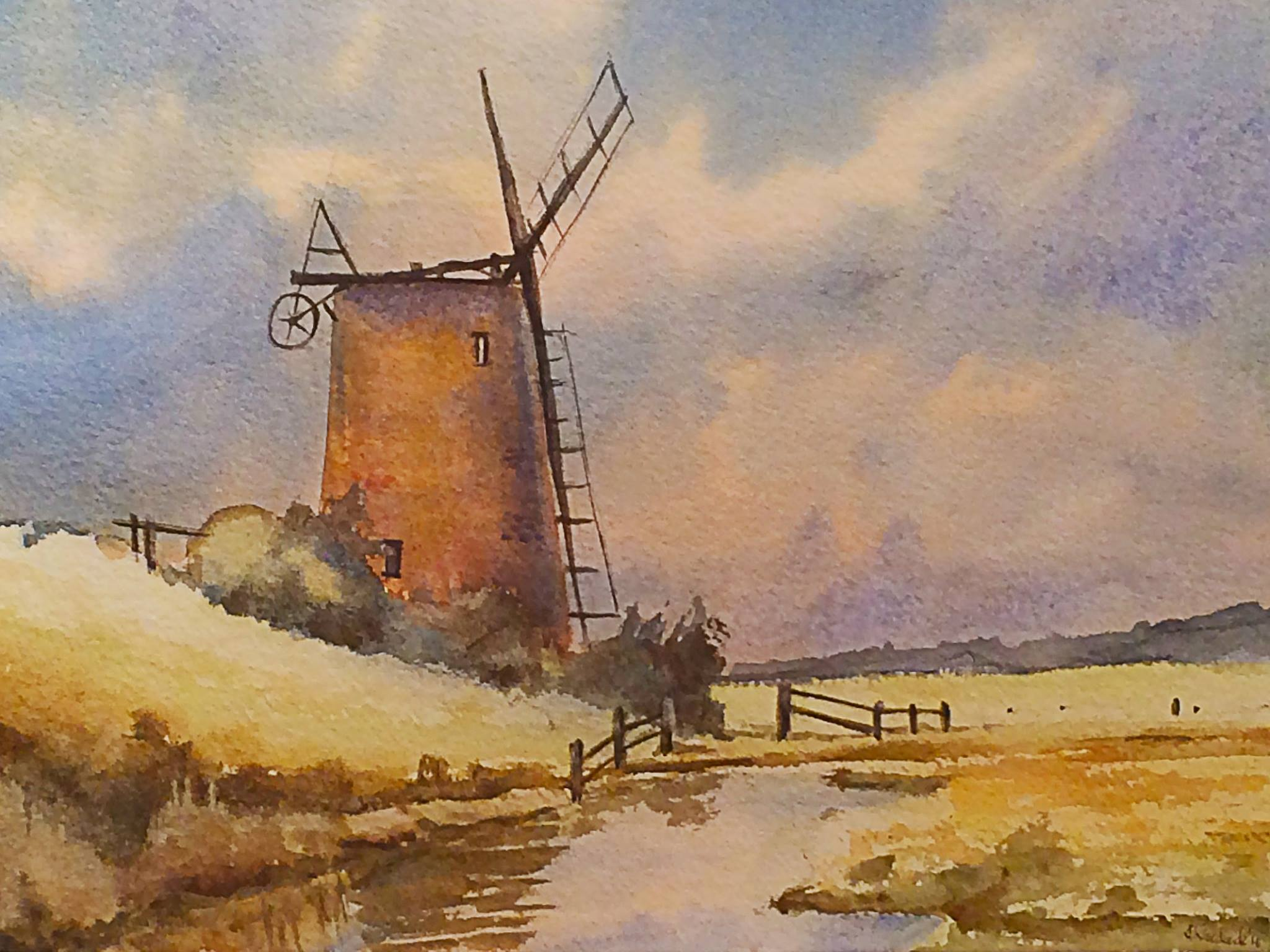 Norfolk Windmill By Mrs Llinos Woodcock