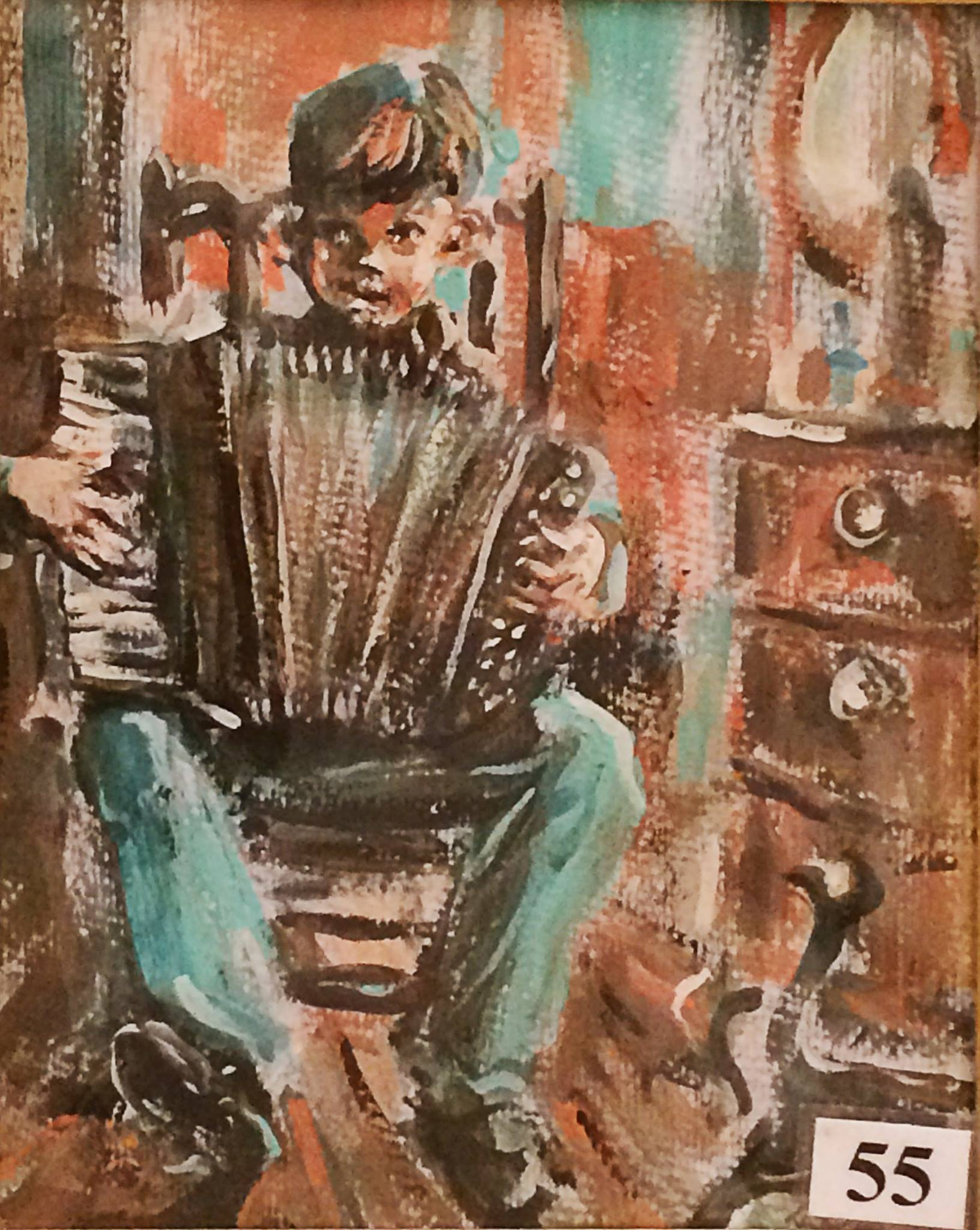 Child With Accordion by Bernadette Collins