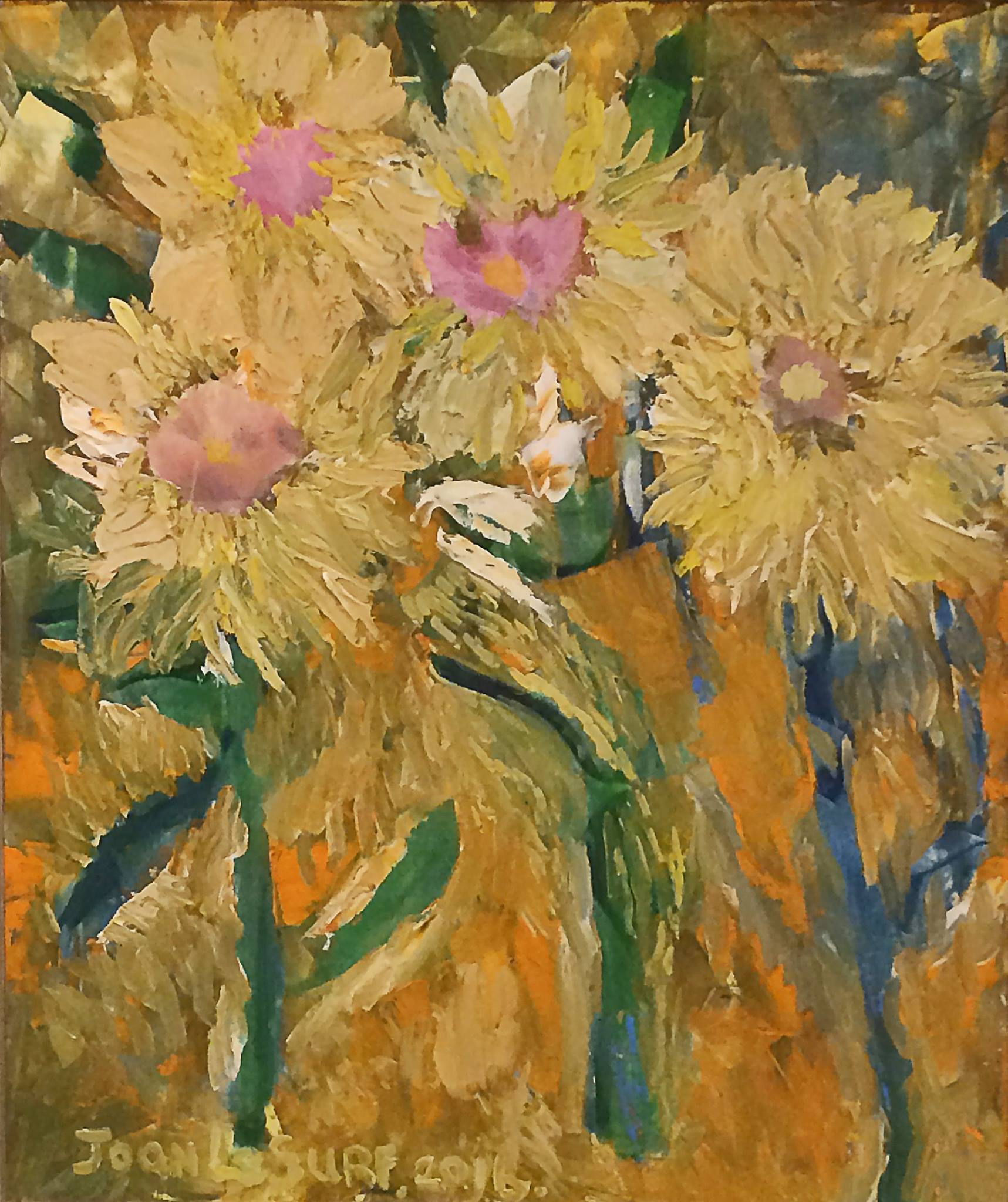 Chrysanthemums, oil painting by Joan Le Surf