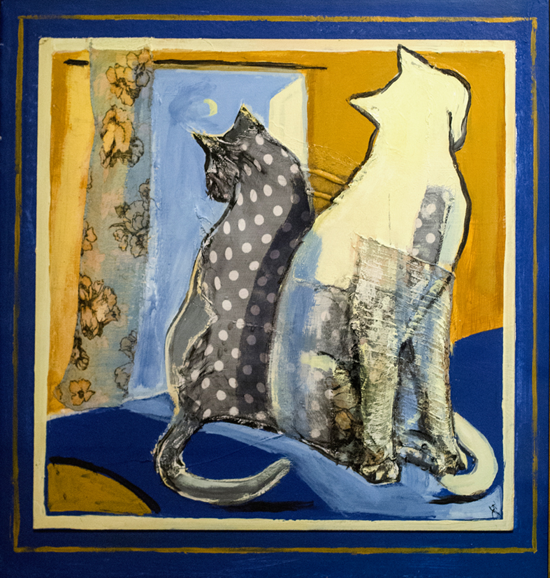 2 cats blue and gold Bernadette Collins