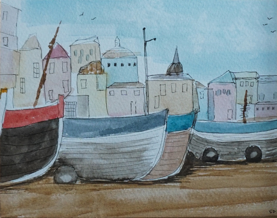 Boats on the beach, by Sue Debling.